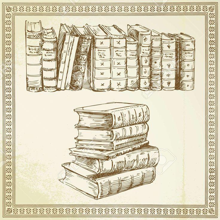 Ritka Könyvek - Kézzel Rajzolt Szett Royalty Free Clip Artok, Vektorokt és Stock…