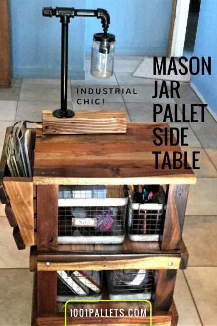 Mason Jar Lamp Pallet Side Table