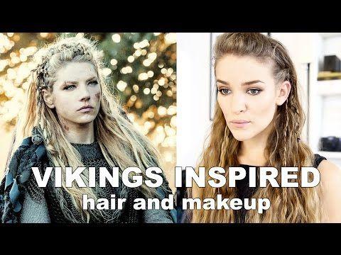 Vikings Inspired Hair and Makeup Tutorial - Lagertha (organic) - YouTube