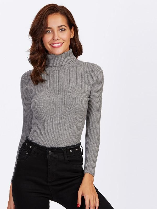 eb9f77b198f Grey Ribbed Knit Fitting Sweater With Rolled Neck in 2019