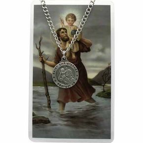 St. Christopher Medal Prayer Card Set With Necklace Round - All Patron Saints