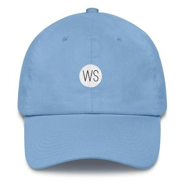 """ Wordscrub Logo"" Cotton Cap ($25) ❤ liked on Polyvore featuring accessories, hats, buckle hats, sun visor cap, american flag cap, visor hats and sun visor hat"