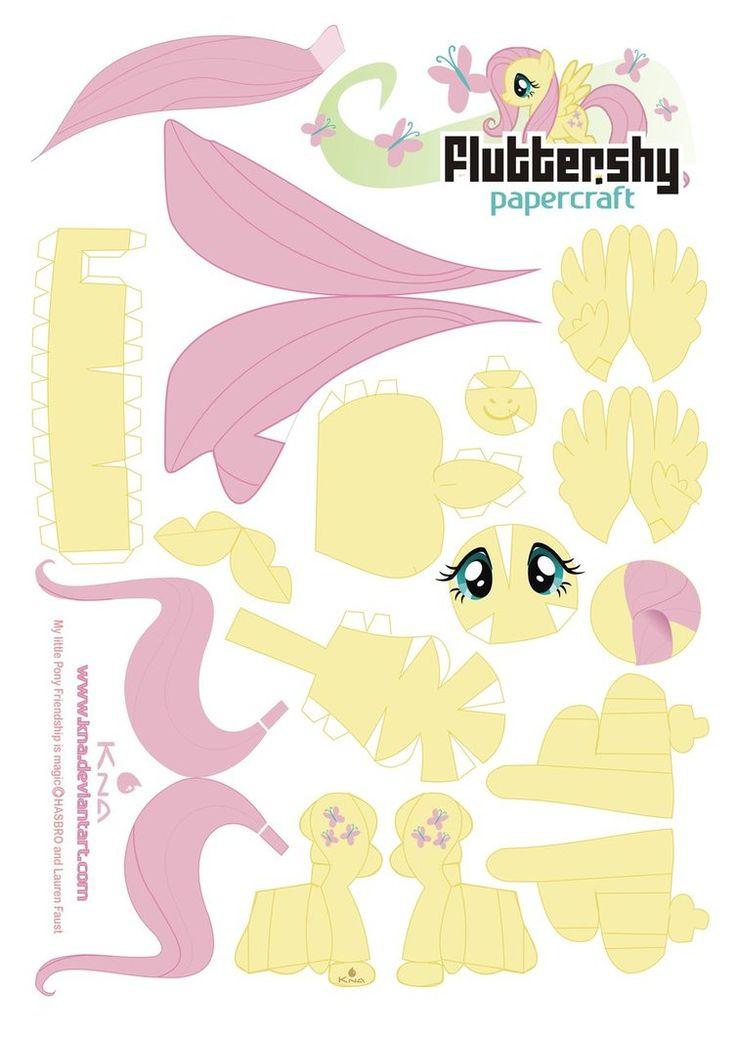 Fluttershy Papercraft by ~Kna on deviantART