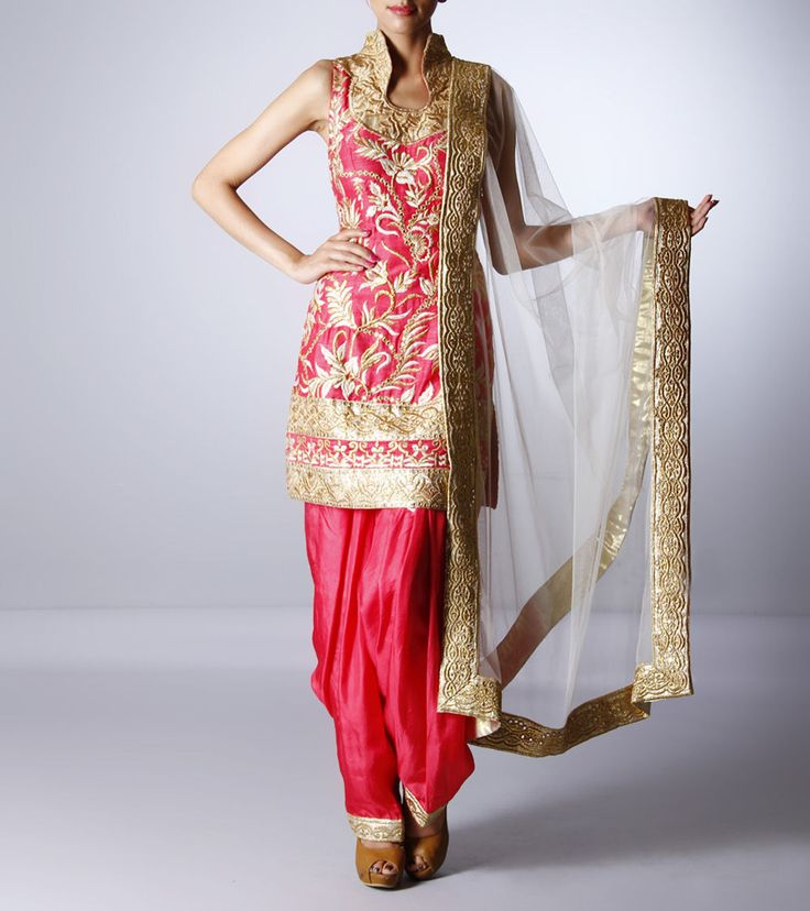 Pink Silk Salwar Suit with Zari Work