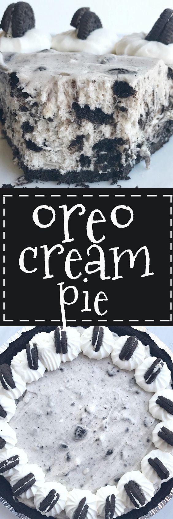 This Oreo cream pie will be one of the easiest desserts you'll ever make. An Oreo cookie crust filled with a cream Oreo filling. Top with additional whipped cream and Oreos for the ultimate Oreo Cream Pie. Only 6 simple ingredients needed and it's no-bake!