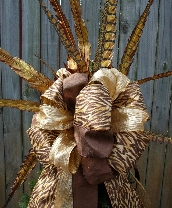 Christmas Tree Topper   Copper Brown And Gold Tree Top Bow   Animal Print  With Feathers   Double Sided   Additional Tree Top Wildness