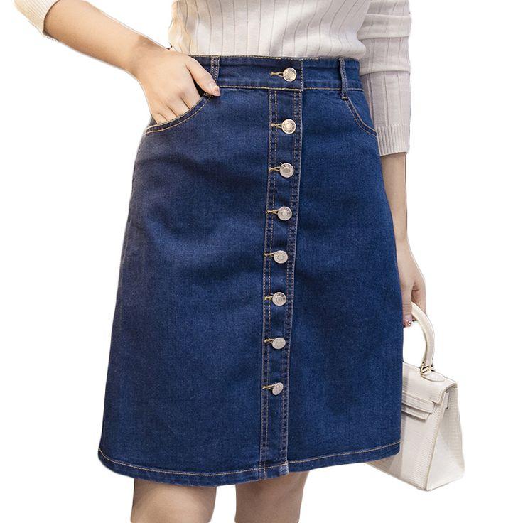 Brand New Design Woman Midi Denim Skirt Knee Length Saia Jeans Ladies Long Jean Skirts Plus Size Single-Breasted High Waist