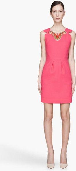 Pink Coral Wool Beaded Tuck Dress