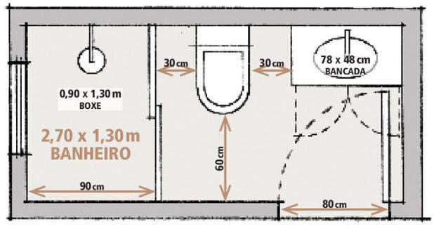 Projeto  Banheiro  Pequeno  Planta  Projetos  Apartamentos  Pinterest -> Banheiro Pequeno Planta Baixa