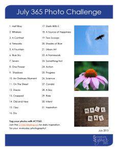 July CaptureYour365 Photo Challenge List