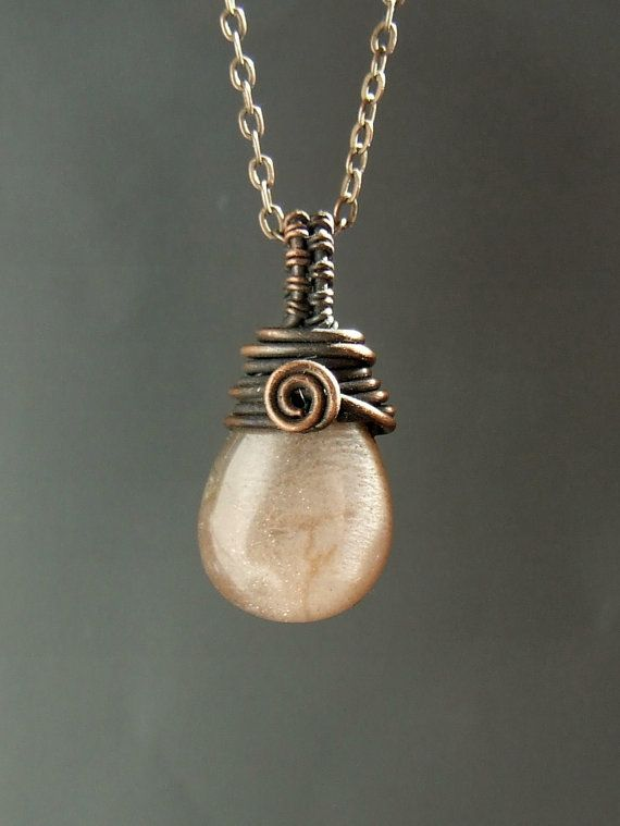 Fertility necklace moonstone necklace peach by VeraNasfaJewelry