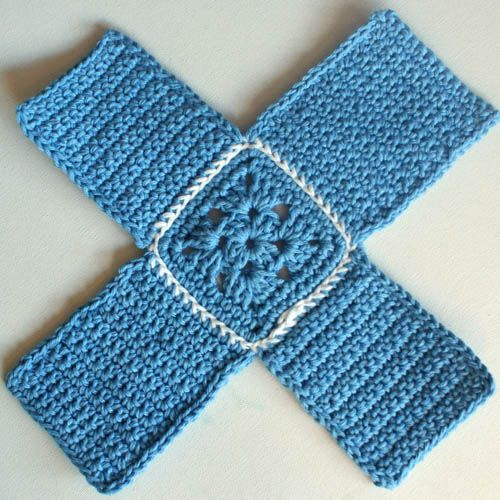 Box-Shaped Crochet Projects...start with a granny square in the middle;add four sides ,fold up and whip stitch together...You have a box!