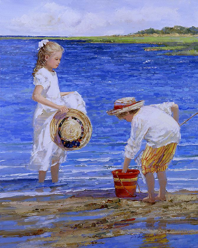 Fantastic Sally Swatland Paintings: Children on the Beach - AmO Images - AmO Images