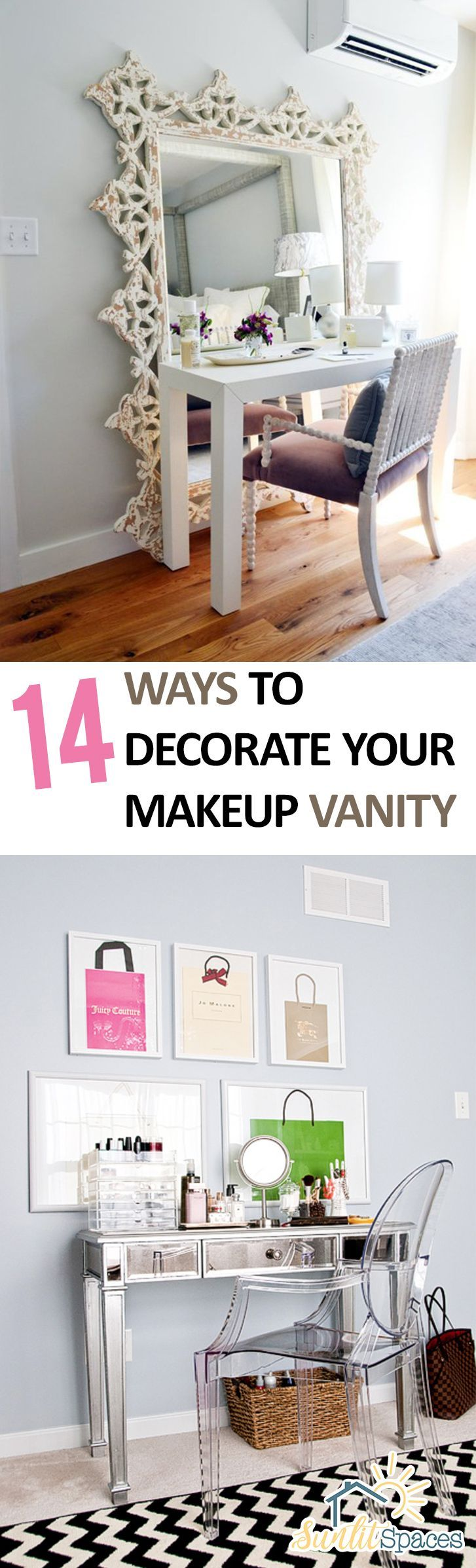 Makeup Vanity, How to Decorate Your Makeup Vanity, Home Decor Ideas, DIY Makeup Vanity, Makeup Vanity Ideas, Makeup Tips and Tricks, Decorating, Bathroom Decor, Popular Pin