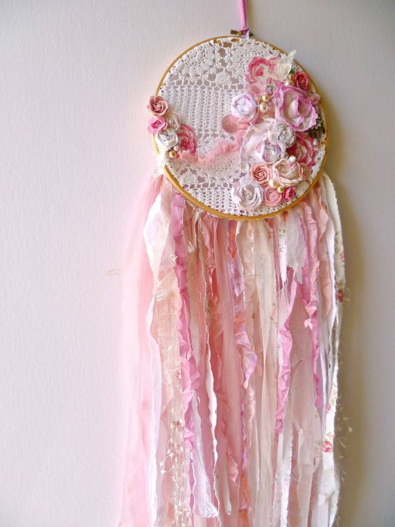 Pink Shabby Chic Dream Catcher  Vintage embroidery hoop 9 Length overall 38 Vintage crocheted lace Shabby rosettes 7 paper flowers Rhinestone