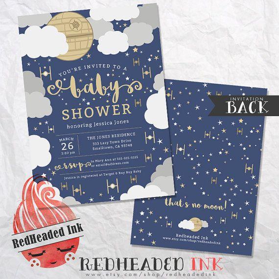 Star Wars  That's No Moon  Baby Shower Invitation by RedHeadedInk
