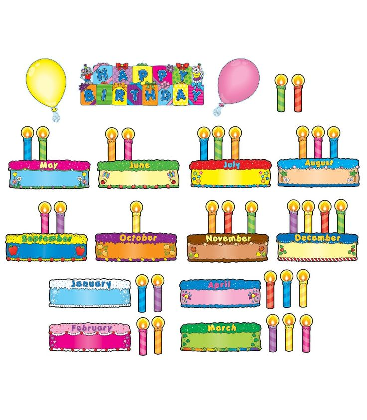 "This fun, dessert-themed bulletin board set includes: 12 cakes (approx. 10"" x 3.5"" each) 32 candles 2 balloons A resource guide"