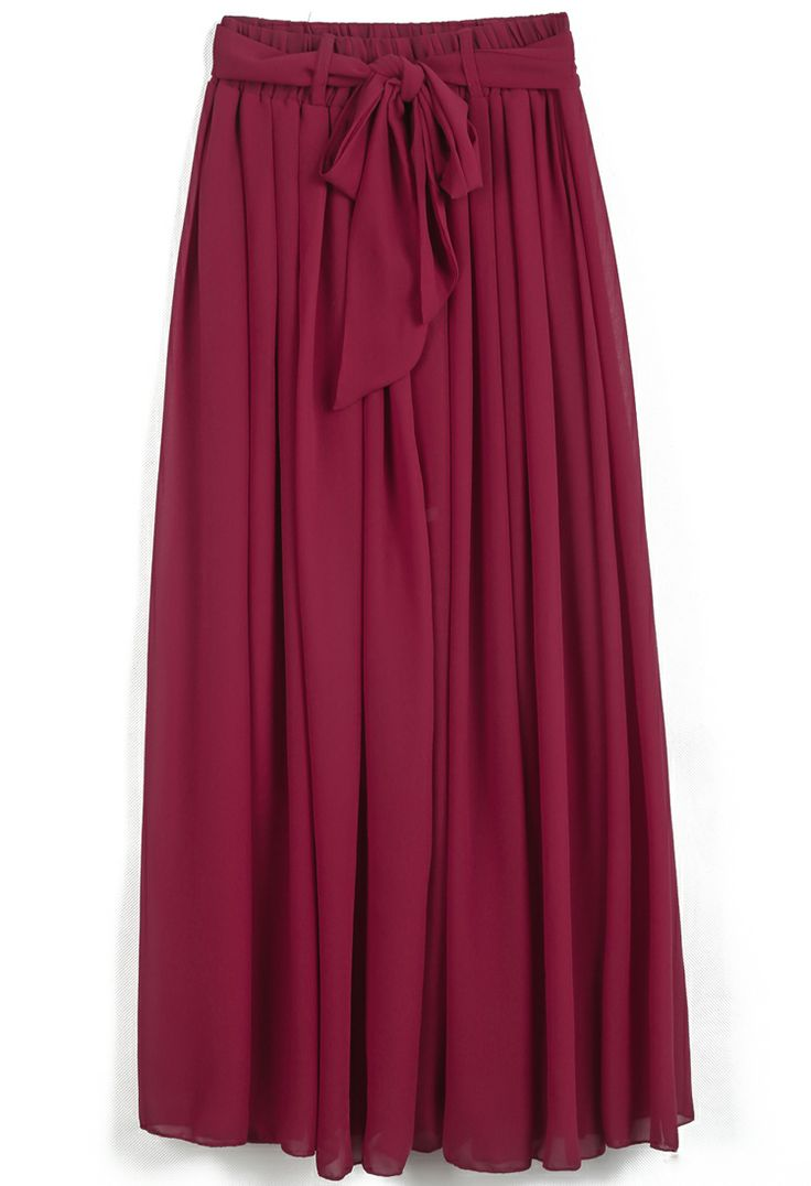 Red Elastic Waist Drawstring Pleated Chiffon Skirt US$20.79