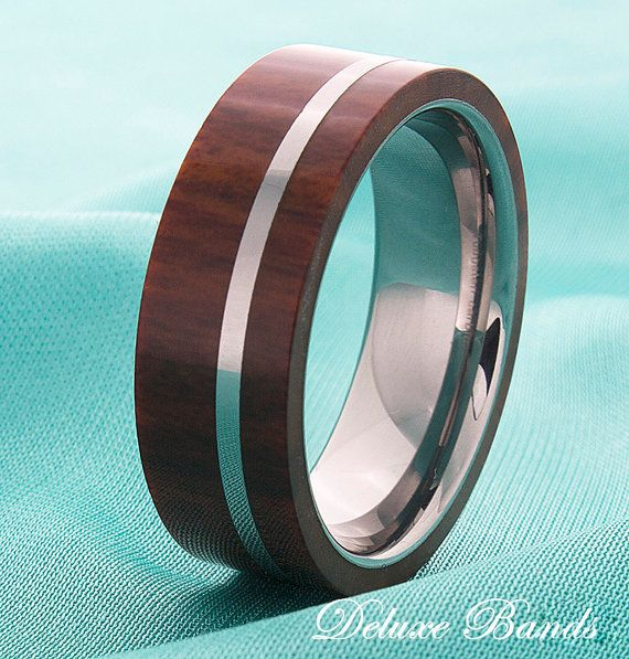 Wood Inlay Mens Tungsten Wedding Ring Tungsten Wood by DeluxeBands