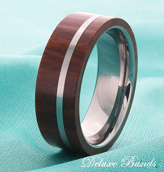 Mens Tungsten Wood Inlay Wedding Ring,Tungsten Wedding Band,Mens Fashion Tungsten Ring,Mens Tungsten Band,Pipe Cut Tungsten Wood Inlay Ring