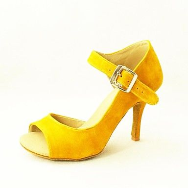 Customizable Women's Dance Shoes Latin/Salsa Flocking Customized Heel Black/Yellow – GBP £ 25.54