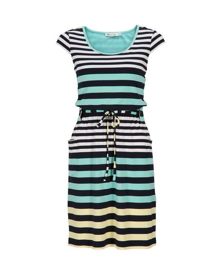 Striped Tie-Waist Dress in Aqua / Navy / Lemon Stripe . Buy it now - or find your Ricki's store - at www.rickis.com #rickis #summer2014