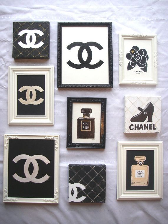 Original Artist Painting COCO CHANEL CC Designer Framed Canvas Panel Paris Shabby Chic. $75.00, via Etsy.