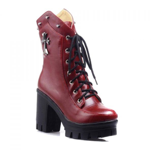 Fashion Rivets and Cross Pattern Design Women's Short Boots, WINE RED, 41 in Boots   DressLily.com
