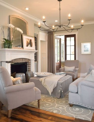 Coastal gray... Living room with swirly wave rug. Shop the Look at CC: http://www.completely-coastal.com/2010/03/nautical-rugs.html