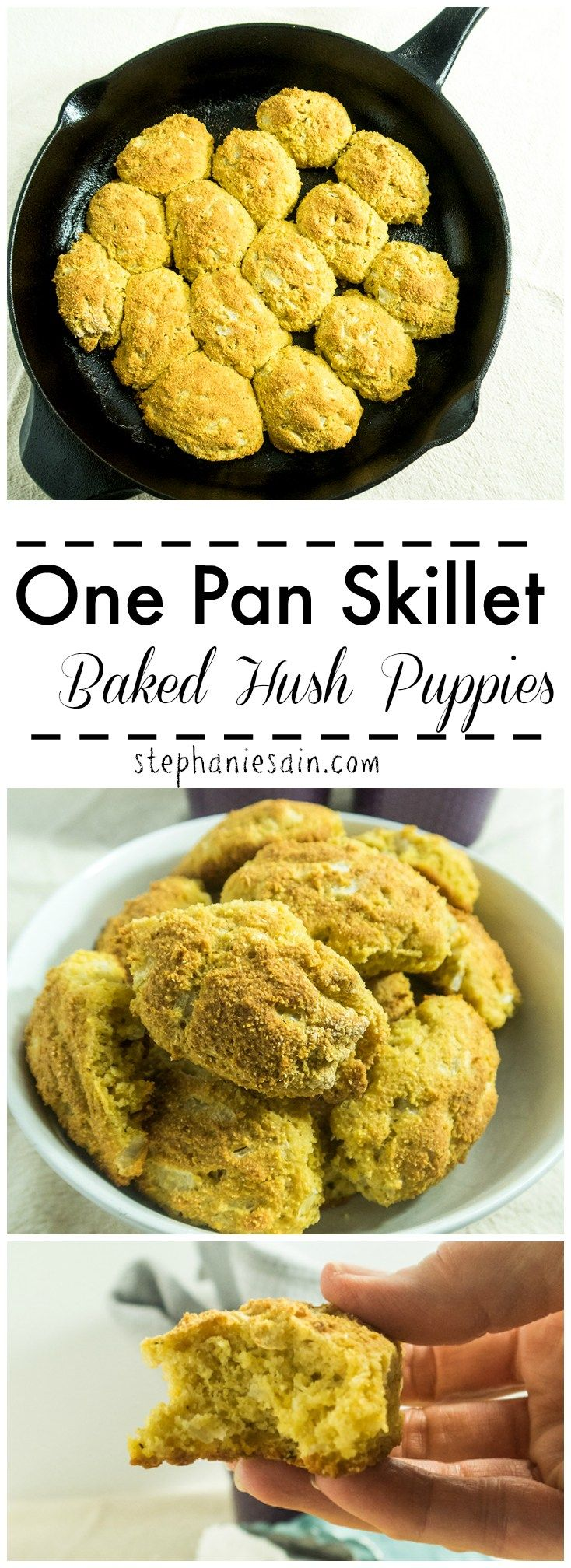 One Pan Skillet Baked Hush Puppies are a healthier version of the traditional hush puppies. They go perfect as a side with almost anything or even great as a snack. Gluten Free & Vegetarian.