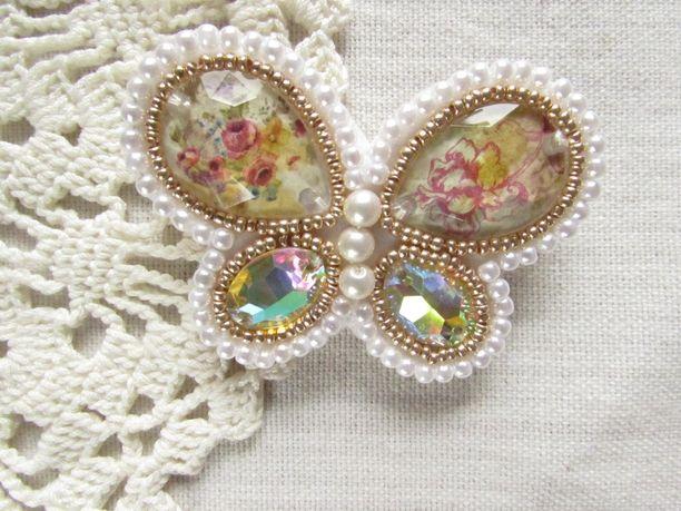 ビーズ刺繍~蝶のブローチ                                                                                                                                                     もっと見る