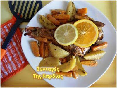 ΣΥΝΤΑΓΕΣ ΤΗΣ ΚΑΡΔΙΑΣ: Κοκκινόψαρο με λαχανικά στον φούρνο - redfish with vegetables in the oven