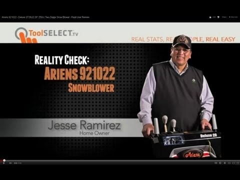 "Ariens 921022 - Deluxe ST28LE 28"" 250cc Two-Stage Snow Blower - Real User Review    http://www.toolselect.com/product/detail/Ariens-921022"