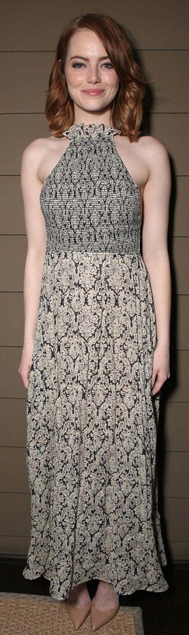 Emma Stone in Dress – Rosie Assoulin  Jacket – Rebecca Taylor  Shoes – Christian Louboutin