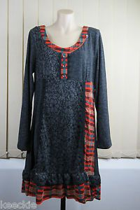 Size L 14 Ladies Grey Tunic Dress Casual Patchwork Boho Chic Grunge Design | eBay