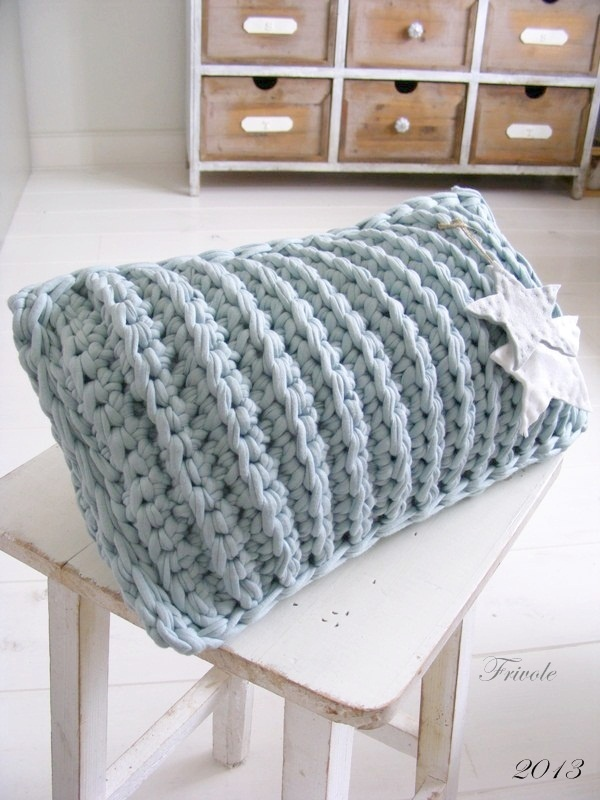 Textured decor cushion brilliant for any room in the house, made using Tarn {T-shirt Yarn} http://www.tarnsa.co.za/