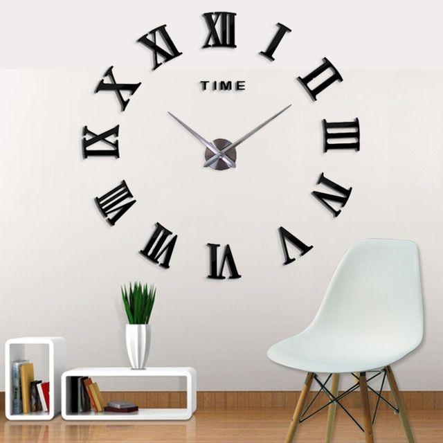 New Fashion 3d Big Size Digital Beautiful Wall Clock New Black Color Home Decor Free Shipping New Clock Vintage Wall Clock Wall Clock Modern Mirror Wall Clock