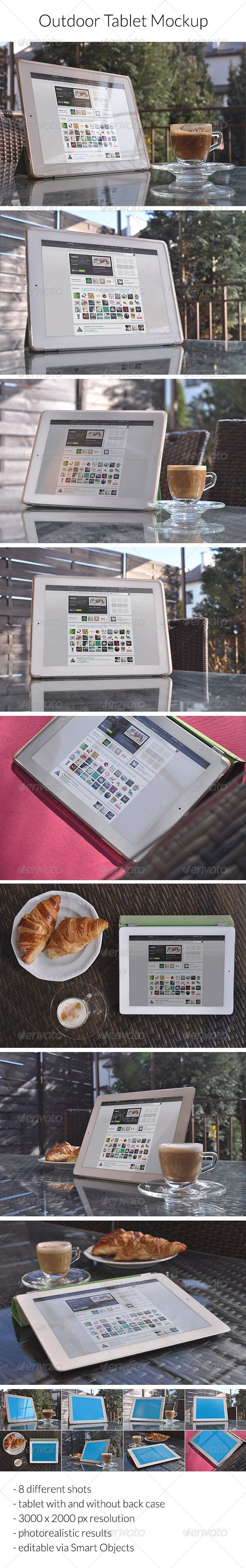 Photorealistic outdoor tablet mockup. 8 different shots in 1 PSD file – you place your design into a Smart Object just once and get as a result 8 views. Shots of iPad on rattan table with or without back case, with or without coffee and croissants. Just feel and show the pleasure of working outside ;)