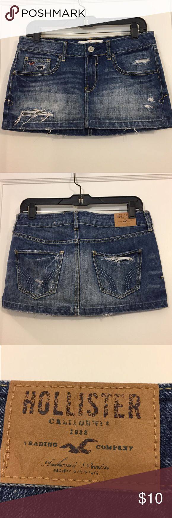 hollister jean skirt hollister short jean skirt. worn but still in good condition!' Hollister Skirts Mini