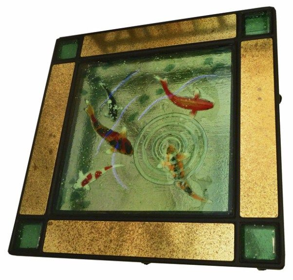 287 best koi fish pond glass images on pinterest stained for Koi pool table