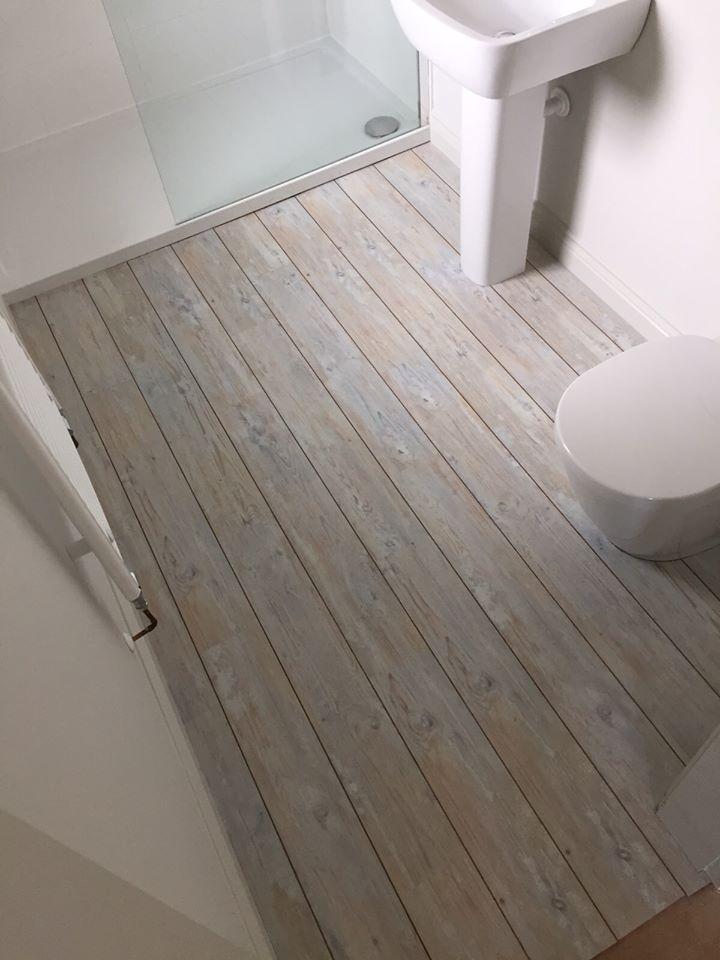 Coastal Carpets, Camaro White Limed Oak Luxury Vinyl Flooring Tiles With  Walnut Marquetry Strip Bathroom Floor, Pale Limed Wood