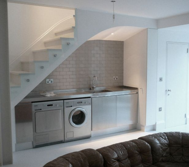 Laundry under stairs laundry pinterest laundry for Kitchen designs under stairs