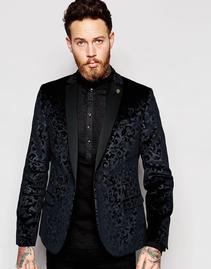 Image 1 of Noose & Monkey Velvet Blazer with Floral Embossing in Skinny Fit