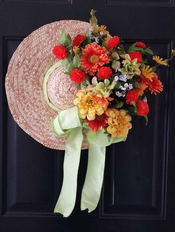 Straw Hat Wreath Spring Wreath Summer Wreath by KraftsByViktorija - Emerald Lily Craft Studio, $79.00