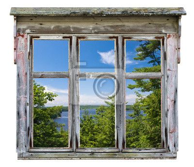 """Stickers """"country, rural, white - scenic view seen through an old window frame"""" ✓ Easy Installation ✓ 365 Days Money Back Guarantee ✓ Browse other patterns from this collection!"""