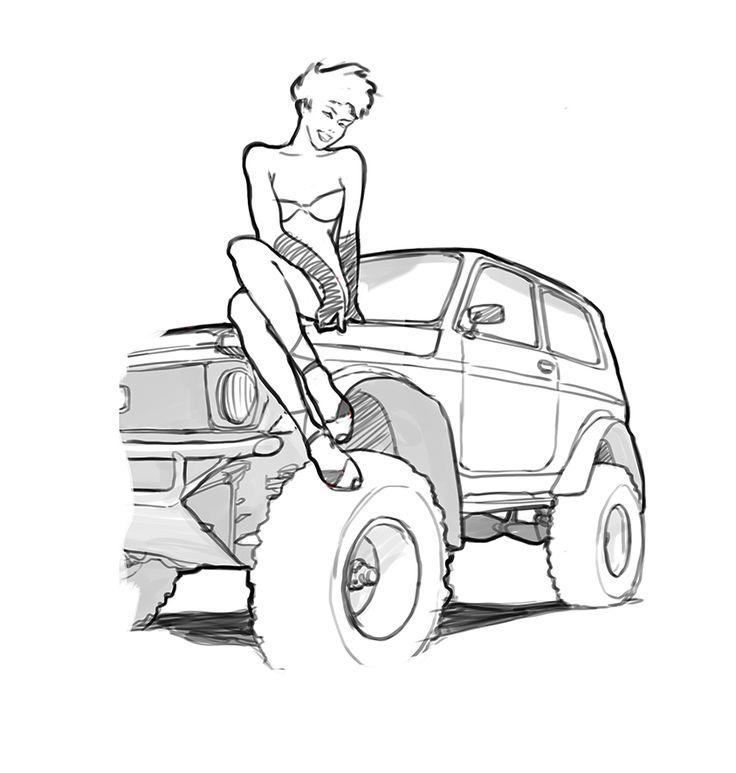 "Pin-up. Wacom Cintiq, photoshop. Drawing. Рисунок. Ещё одна легенда советского автопрома. Vaz 2121 ""Niva"". Pin up, но по-нашему, по советски )) ...эскиз. Pin up sketch. Sketch. #рисунок #sketching #sketch #drawing #rusgraphics #art #arts #illustration #иллюстрация #graphic #graphics #characterdesign #posters #pinup #pinupposter #pinuppost #painting #artgroup #artground #art_prime #instaart #colourful #arts_gallery #artwork #cartoons #cartoon #sketchbook #скетчбук"
