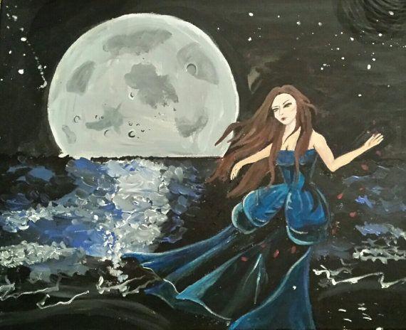 La dama e la luna. di SeguGioArt su Etsy