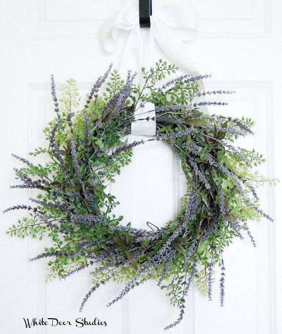 Lavender and Greenery Wreath | Front Door Wreath | Year Round Wreath | Farmhouse Wreath | Simple Wreath | Rustic Wreath | Housewarming Gift