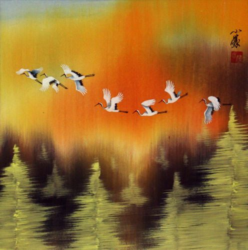Cranes Taking Flight in Autumn