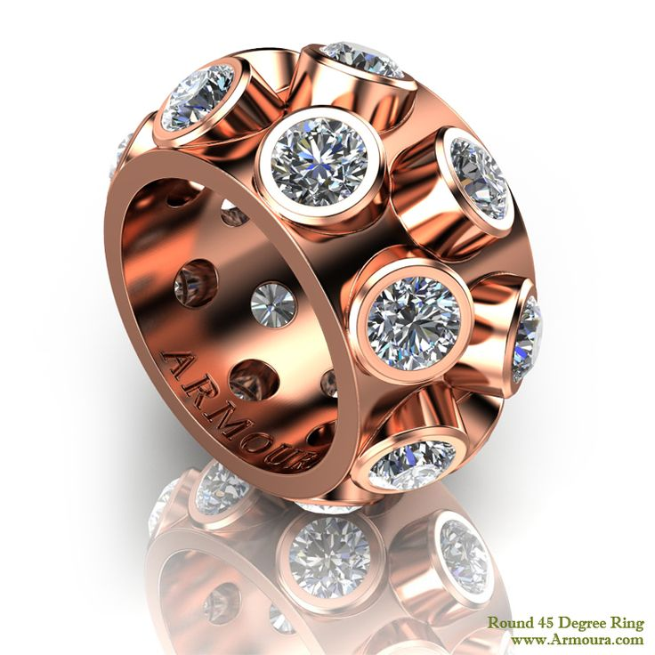 45 Degree ring, rose gold with round brilliant cut diamonds, www.Armoura.com